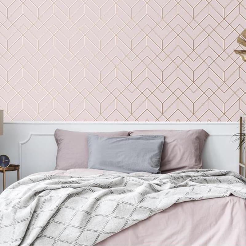 Tapeta różowa do sypialni geometryczna